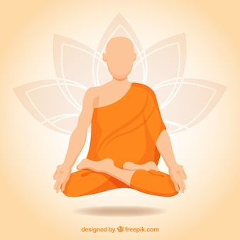 Meditation concept with buddhist monk