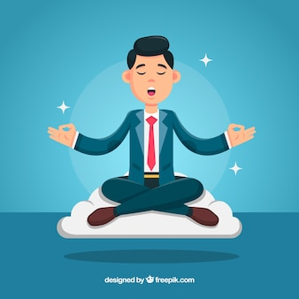 Meditation concept with businessman