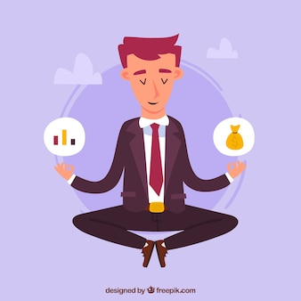 Meditation concept with businessman