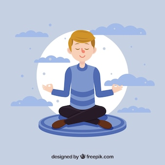 Meditation concept with flat character