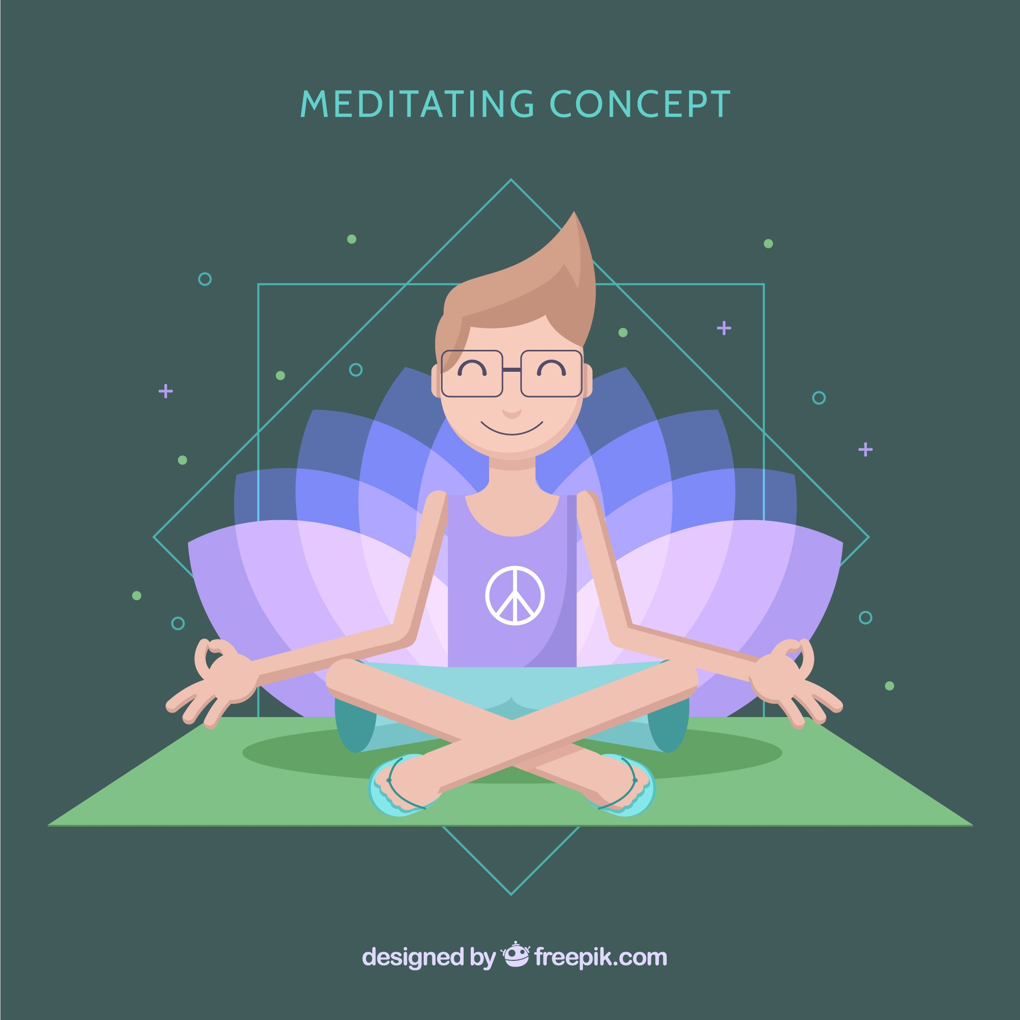 Meditation concept with flat male character