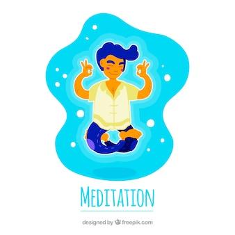 Концепция медитации с ручным рисунком