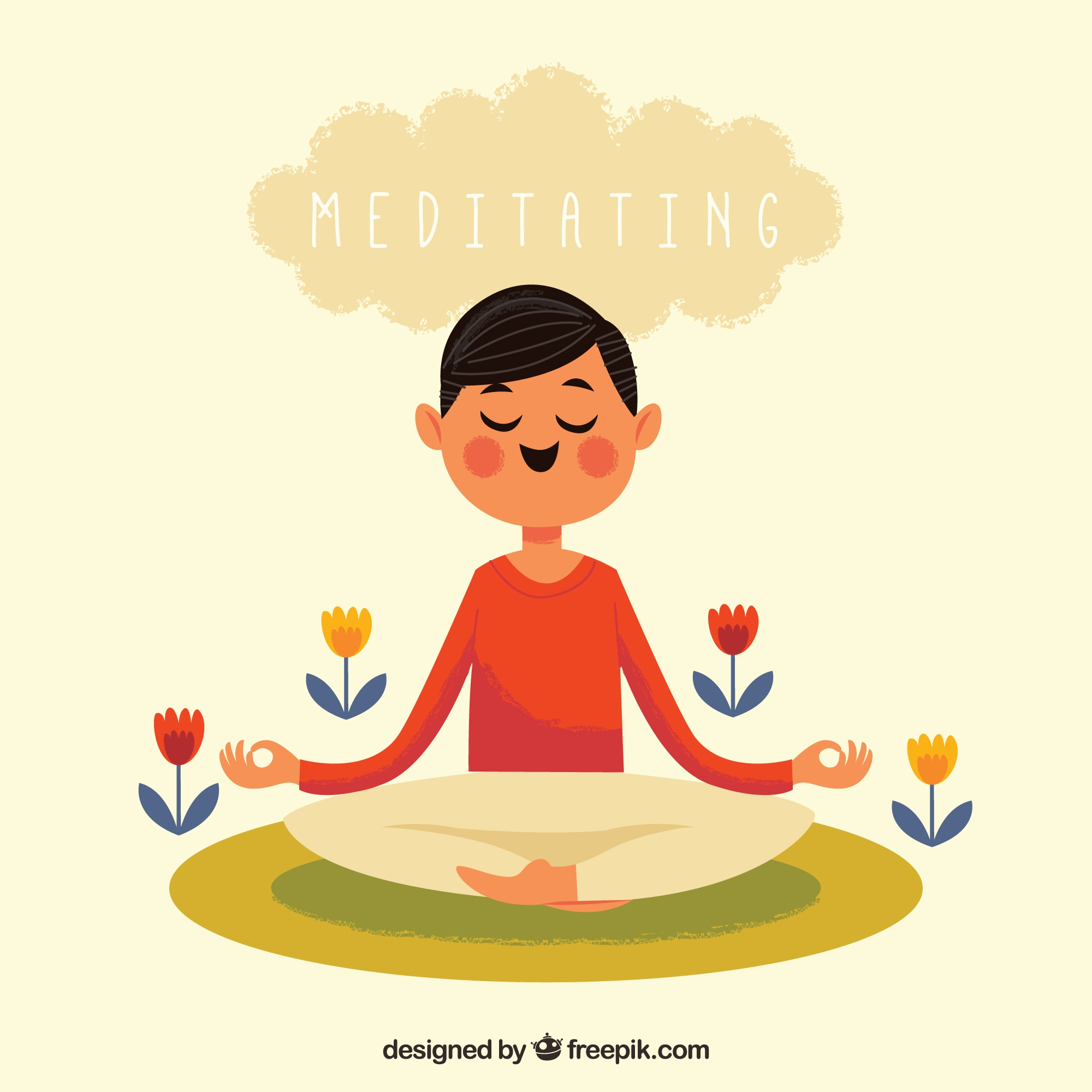 Meditation concept with happy man