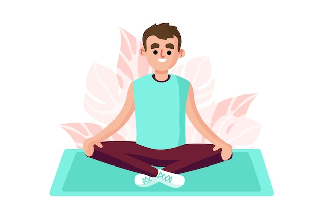 Meditation concept with man