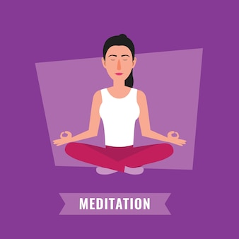 Meditation concept. woman meditating in lotus pose