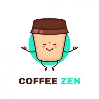 瞑想かわいい幸せな笑みを浮かべてコーヒーカップ。フラット漫画キャライラストアイコン。白で隔離。コーヒー、瞑想、禅、リラックス、ヨガのロゴ