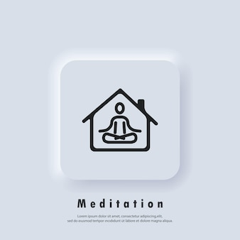 Meditation icon line symbol. yoga, fitness exercise. doing yoga at home icon. relaxation and concentration. quarantine activity. vector. neumorphic ui ux white user interface web button. neumorphism