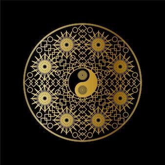 黒の背景の線形ベクトル図に曼荼羅のアウトラインで黄金の陰陽サインインと瞑想アイコンテンプレート。伝統的な東洋のシンボルデザイン。アジアの文化とバランスの概念