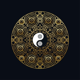 검은 배경 선형 벡터 일러스트 레이 션에 만다라 개요에 황금 음과 양 기호 명상 아이콘 템플릿. 전통적인 동양 상징 디자인입니다. 아시아 문화와 균형 개념
