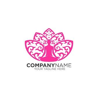 蓮の背景に瞑想のロゴ