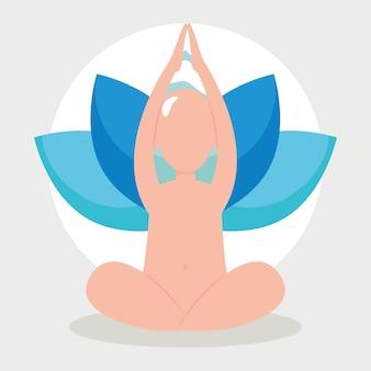 瞑想の男と蓮の花のイラスト
