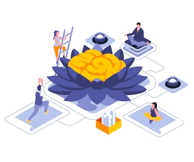 Meditation for mind isometric    illustration template
