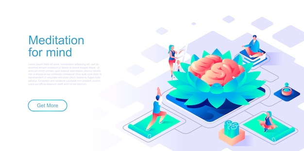 Meditation for mind isometric landing page template.