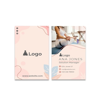 Meditation and mindfulness double-sided businesscard vertical