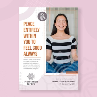 Meditation & mindfulness flyer vertical