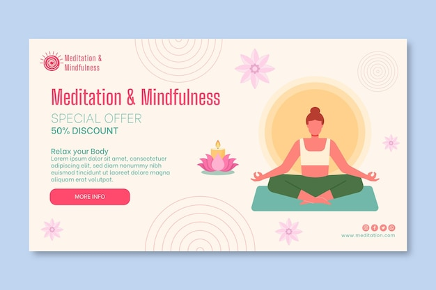 Meditation and mindfulness horizontal banner