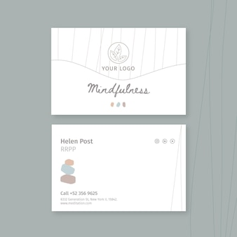 Meditation and mindfulness horizontal business card template