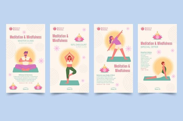 Meditation and mindfulness instagram stories collection