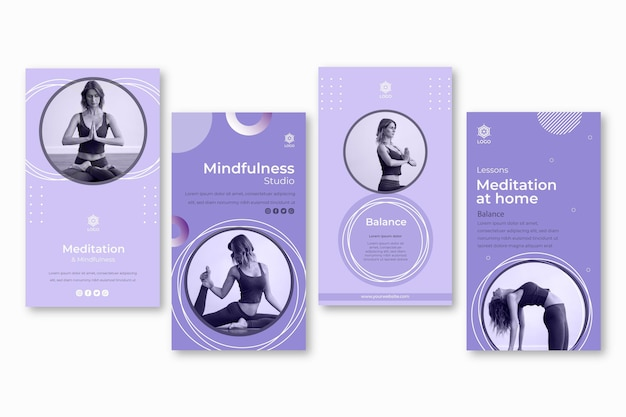 Meditation and mindfulness instagram stories template