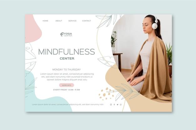 Pagina di destinazione della meditazione e della consapevolezza