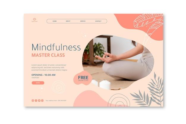 Pagina di destinazione del poster di meditazione e consapevolezza