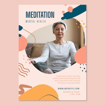 Meditation and mindfulness poster template