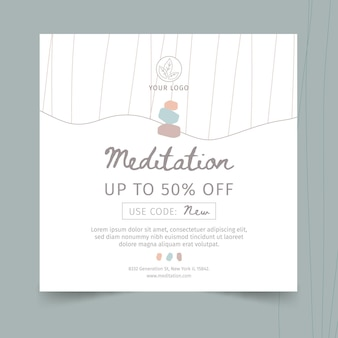 Meditation and mindfulness square flyer template