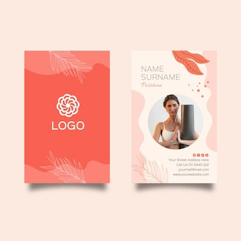 Meditation and mindfulness vertical business card template
