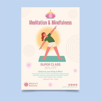 Meditation and mindfulness vertical flyer template