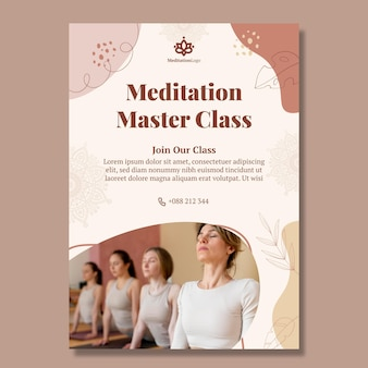 Meditation and mindfulness vertical flyer