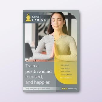 Modello di poster verticale di meditazione e consapevolezza