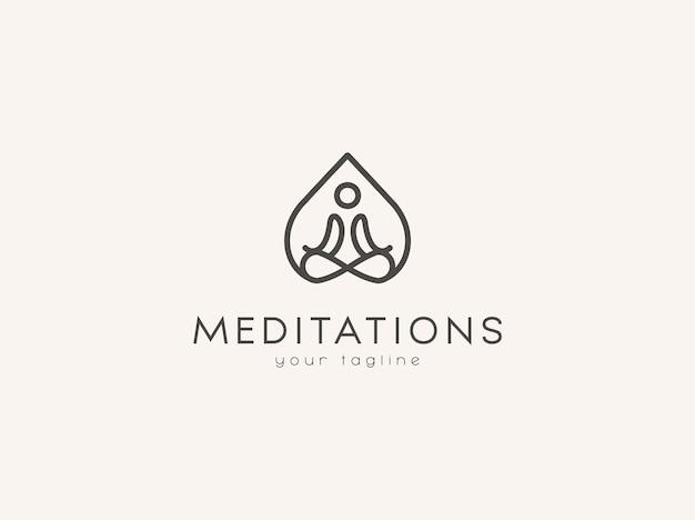 Минималистичный дизайн логотипа медитации премиум векторы