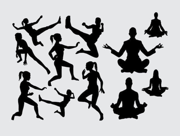 Meditation and sport activity silhouette