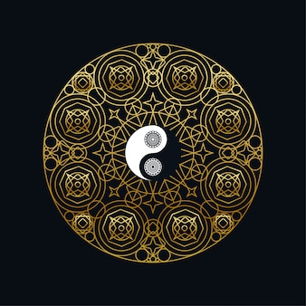 Meditation with yin yang sign in mandala