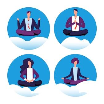 Meditation yoga businesspeople set
