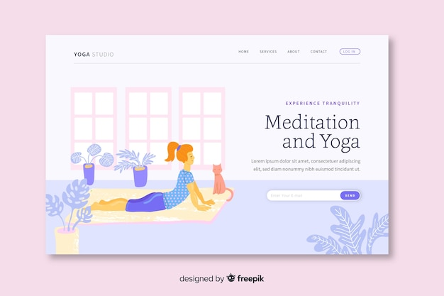 Meditation and yoga landing page template
