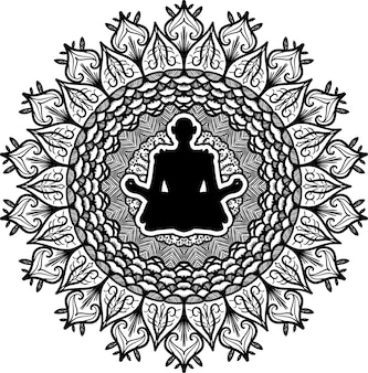 Meditation, yoga symbol vector illustration. contour floral mandala art. oriental culture drawing
