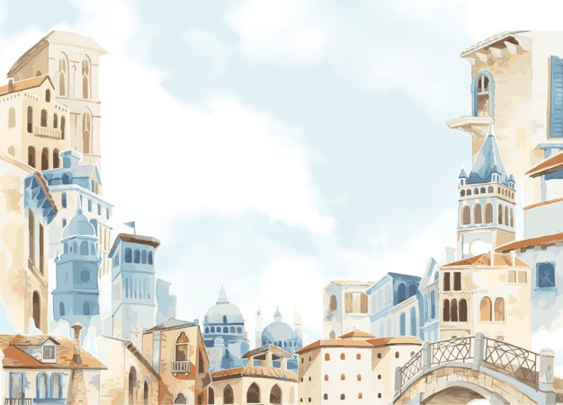 Mediterranean city building exterior water color style