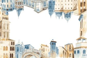 Mediterranean city building exterior water color style