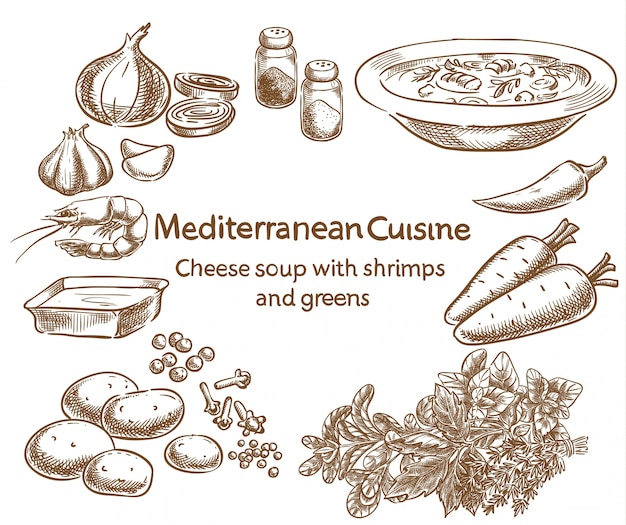 지중해 요리 새우와 채소를 곁들인 치즈 스프.