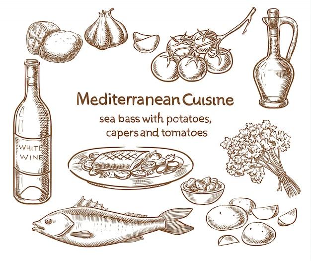 Mediterranean cuisine. sea bass