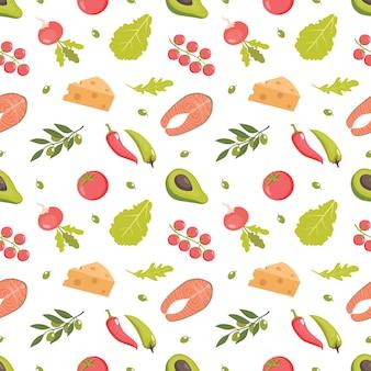 Mediterranean healthy food seamless pattern