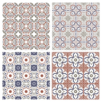地中海のシームレスなモザイクタイルオスマン帝国のセラミックパターン