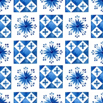 地中海タイルシームレスパターン水彩背景
