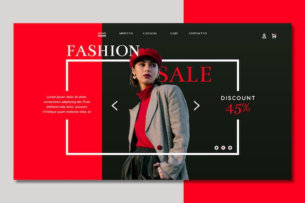 Medium shot woman fashion sale landing page