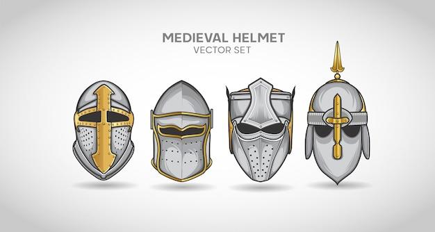 中世の騎士のヘルメットベクターセット
