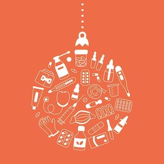 Лекарства, лекарства, таблетки, бутылки и медицинские элементы в форме шара рождественской елки. векторные иллюстрации в форме круга
