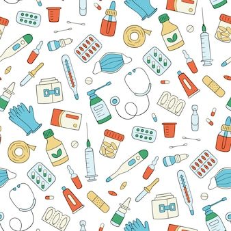 Meds, drugs, pills, bottles and health care medical elements. color seamless pattern. illustration in doodle style on white background