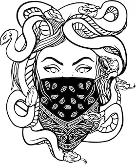 Medusa chicano vector illustration