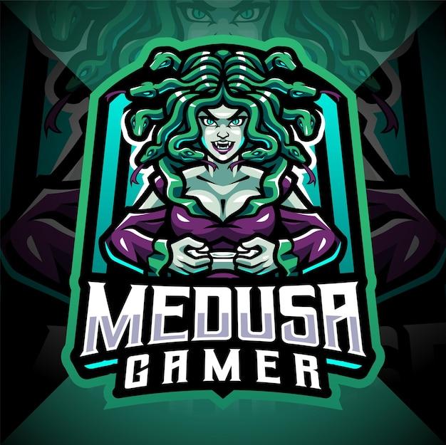 메두사 게이머 esport 마스코트 로고 디자인